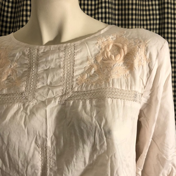 J. Crew Tops - J crew lightweight cotton blouse lace embroidery